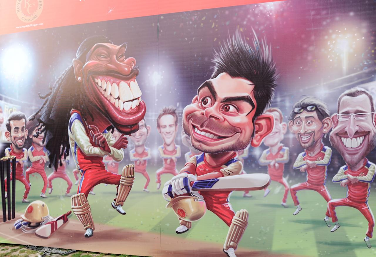 RCB players cartoon being displayed in front of Chinnaswamy Stadium during the IPL T-20 matches between RCB v/s Mumbai Indians , in Bangalore on 4TH  of April 2013