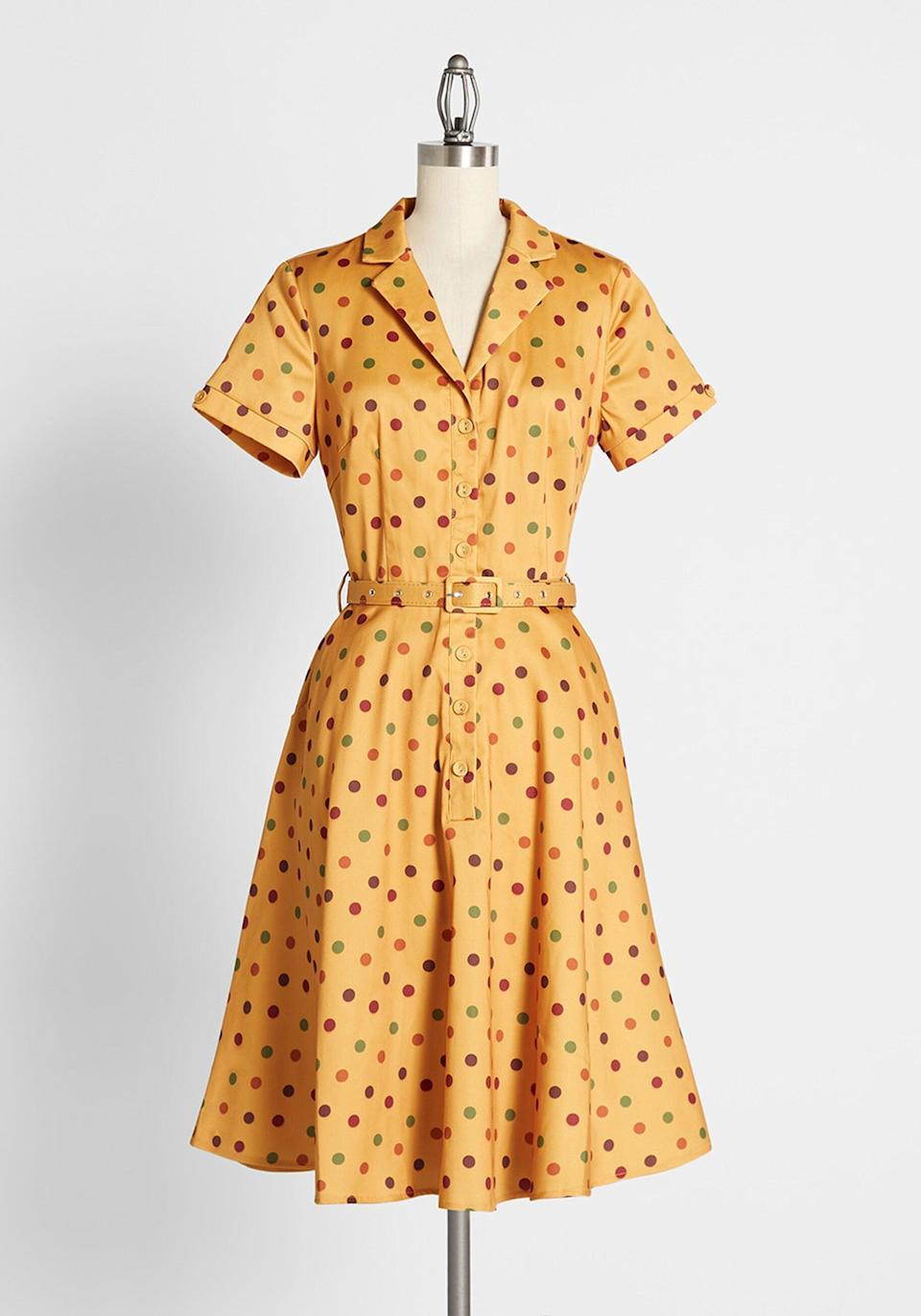 <p>Channel your inner Jessica Day with the <span>Hometown Honey Shirt Dress</span> ($89).</p>