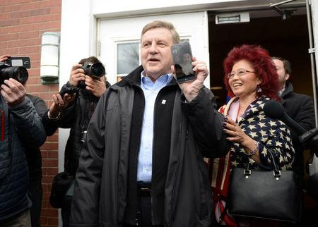 U.S. congressional candidate and State Rep. Rick Saccone emerges from his polling place after casting his vote in Pennsylvania's 18th U.S. Congressional district special election between Republican Saccone and Democratic candidate Conor Lamb at a polling place in McKeesport, Pennsylvania, U.S., March 13, 2018. REUTERS/Alan Freed