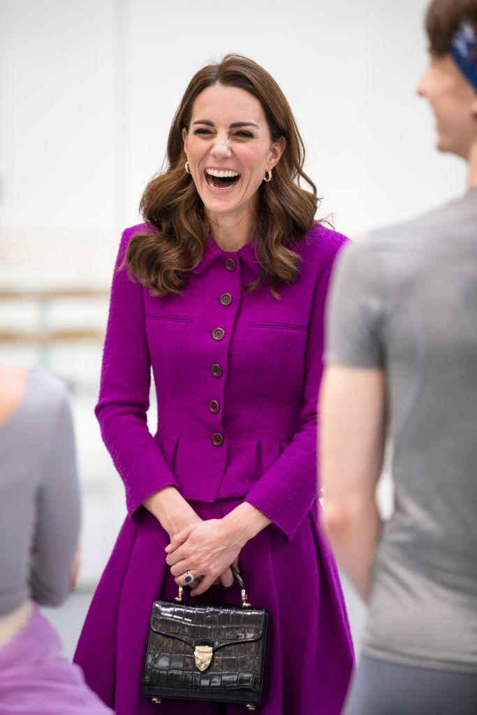 Kate wore her black moc-crock Aspinal of London bag to the Royal Opera House in London. (Getty Images)