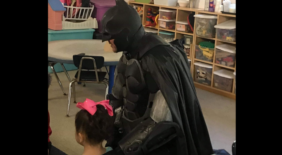 """The Batman of Spring Hill, Jack Asbury III, walked a bullied three-year-old to her preschool and told her classmates that she was his """"very best friend."""" (Photo: Facebook)"""