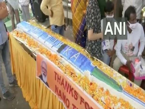 A visual of the cake cut by BJP workers in Bhopal (Photo/ANI)