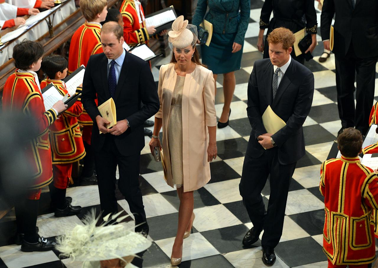 LONDON, UNITED KINGDOM - JUNE 4: Prince William, Duke of Cambridge, Catherine, Duchess of Cambridge and Prince Harry leave Westminster Abbey following the service to celebrate the 60th anniversary of the Coronation of Queen Elizabeth II at Westminster Abbey, on June 4, 2013 in London, England. (Photo by Anthony Devlin - WPA Pool /Getty Images)