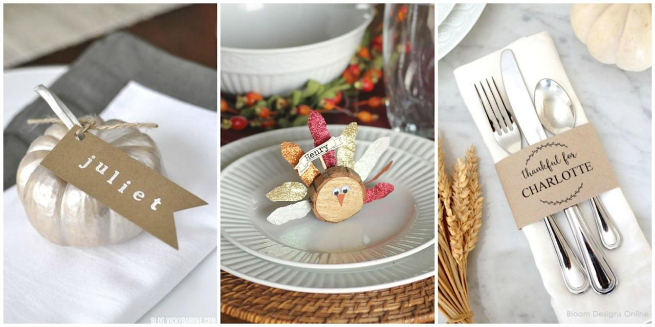 """<p>Show your hospitality with these cute DIY name cards you can make in a flash. Plus, get more <a rel=""""nofollow"""" href=""""http://www.womansday.com/home/crafts-projects/how-to/g22/14-fun-thanksgiving-crafts-21288/"""">fun Thanksgiving craft ideas</a>!<span></span></p>"""
