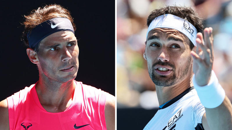 Fabnio Fognini (pictured right) is furious and gestures and Rafael Nadal (pictured left) looks puzzled.
