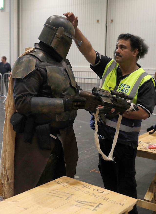A visitor in costume passes through a security check on arrival at the London Comic Con, at the ExCel exhibition centre in east London, Britain October 27, 2017. REUTERS/Peter Nicholls