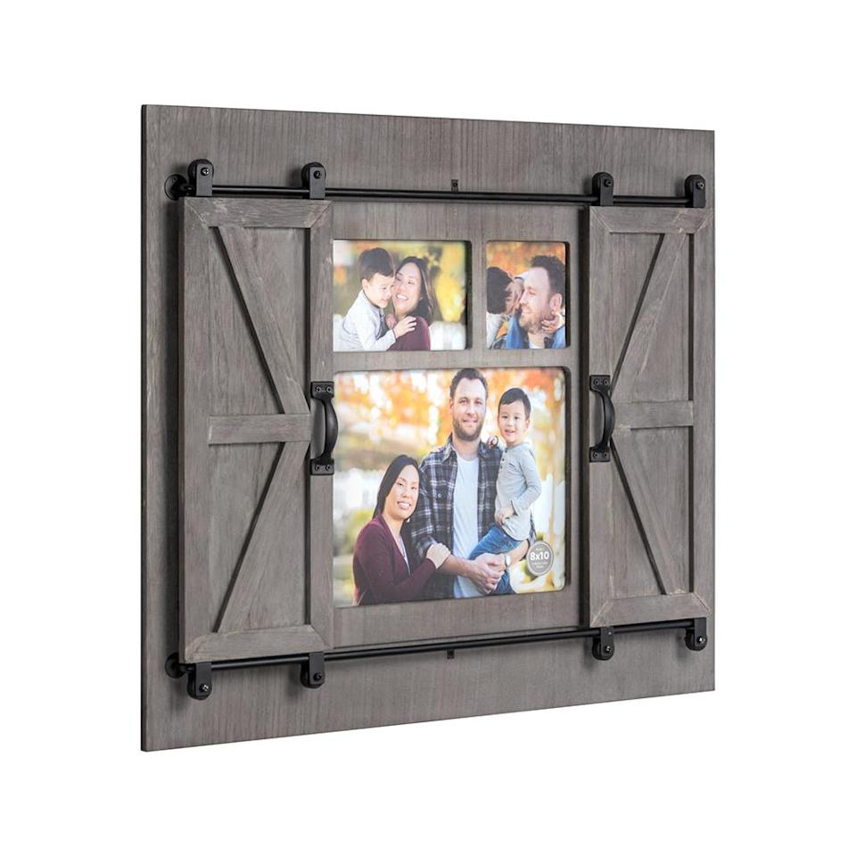 "<p>Take the personalized route and gift the growing family a collage of photo memories. This unique frame has sliding barn doors that reveal a chalkboard and magnetic board too. <br><strong><a href=""https://fave.co/2QpkULk"" rel=""nofollow noopener"" target=""_blank"" data-ylk=""slk:SHOP IT"" class=""link rapid-noclick-resp"">SHOP IT</a>:</strong> $30, <a href=""https://fave.co/2QpkULk"" rel=""nofollow noopener"" target=""_blank"" data-ylk=""slk:walmart.com"" class=""link rapid-noclick-resp"">walmart.com</a> </p>"