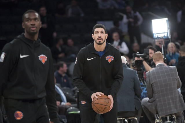 "<a class=""link rapid-noclick-resp"" href=""/nba/players/4899/"" data-ylk=""slk:Enes Kanter"">Enes Kanter</a> has been ready to leave New York for a while. (AP Photo/Mary Altaffer)"