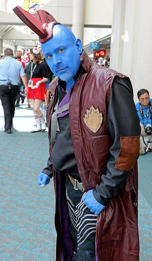 <p>Cosplayer dressed as Yondu from <i>Guardians of the Galaxy</i> at Comic-Con International on July 21, 2018, in San Diego. (Photo: Angela Kim/Yahoo Entertainment) </p>