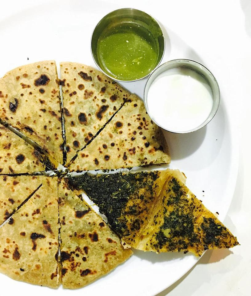 Methi Parantha - Methi parantha made with fresh methi leaves or kasuri methi can help you lower your blood sugar levels. Always ensure to use diabetic flour which is made from a healthy balance of multi-grains that are low GI. (Image: Instagram)