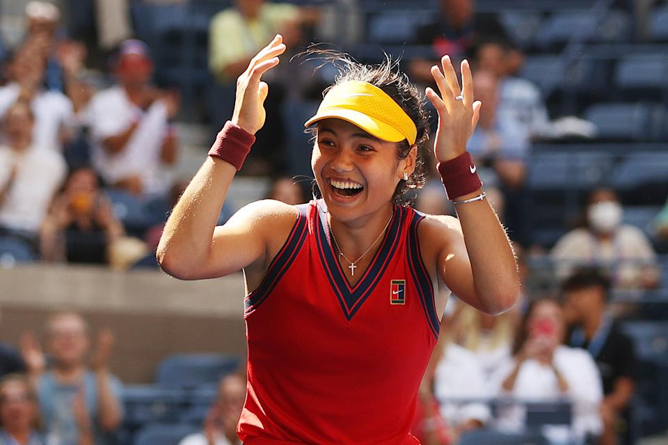 Pictured here, Britain's Emma Raducanu reacts after beating Belinda Bencic in the US Open quarter-finals.