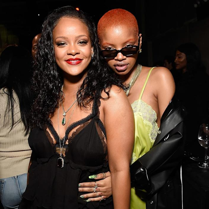 """<div class=""""inline-image__caption"""">Rihanna and Slick Woods pose during the launch of Rihanna's global lingerie brand, Savage X Fenty at Villain on May 10, 2018 in New York City.</div> <div class=""""inline-image__credit"""">Kevin Mazur/Getty Images for Savage X Fenty</div>"""