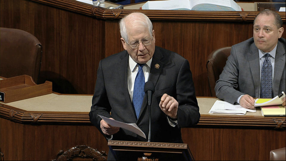 Rep. David Price, D-N.C., speaks as the House of Representatives debates the articles of impeachment against President Donald Trump at the Capitol in Washington, Wednesday, Dec. 18, 2019. (House Television via AP)