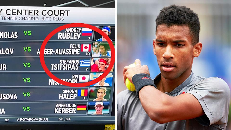 'Tennis Channel' appeared to make a mistake (pictured left) in a graphic and Felix Auger-Aliassime (pictured right) during a match.
