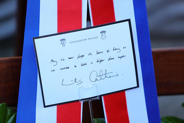 The message on the wreath laid by Duke and Duchess of Cambridge. (Press Association)