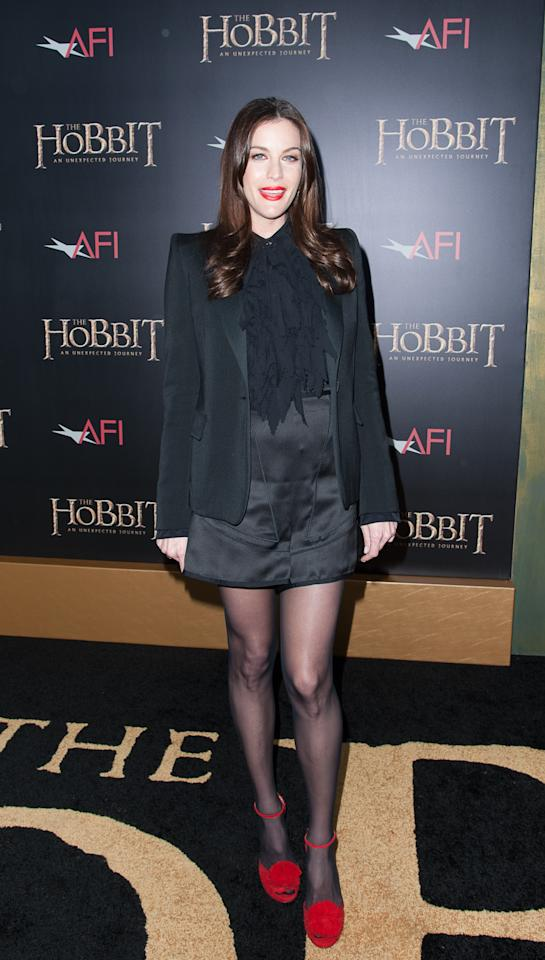 "NEW YORK, NY - DECEMBER 06:  Liv Tyler attends ""The Hobbit: An Unexpected Journey"" New York premiere benefiting AFI at Ziegfeld Theater on December 6, 2012 in New York City.  (Photo by Dave Kotinsky/Getty Images)"