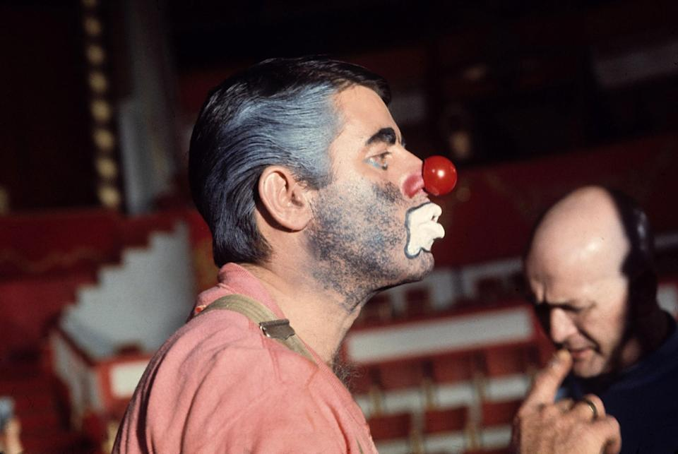 <p>Perhaps Hollywood's most infamous film, this misguided Holocaust comedy, directed by and starring Lewis, has remained on the shelf since its filming in the early 1970s. Here Lewis is seen in costume on the set at the Winter Circus in Paris in 1972. (Photo: Everett Collection) </p>