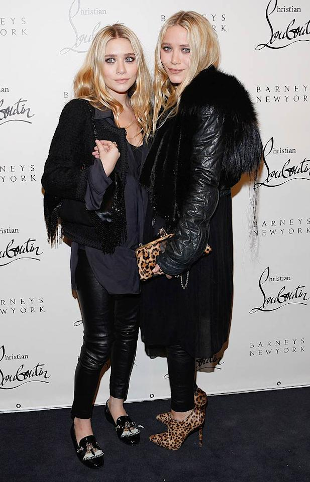 Ashley Olsen and her twin sister Mary-Kate showed up for at the Louboutin soiree wearing their usual drab, layered looks. While we must admit that Ashley looked quite pretty, Mary-Kate's jacket appeared to be in need of a trim! (11/1/2011)