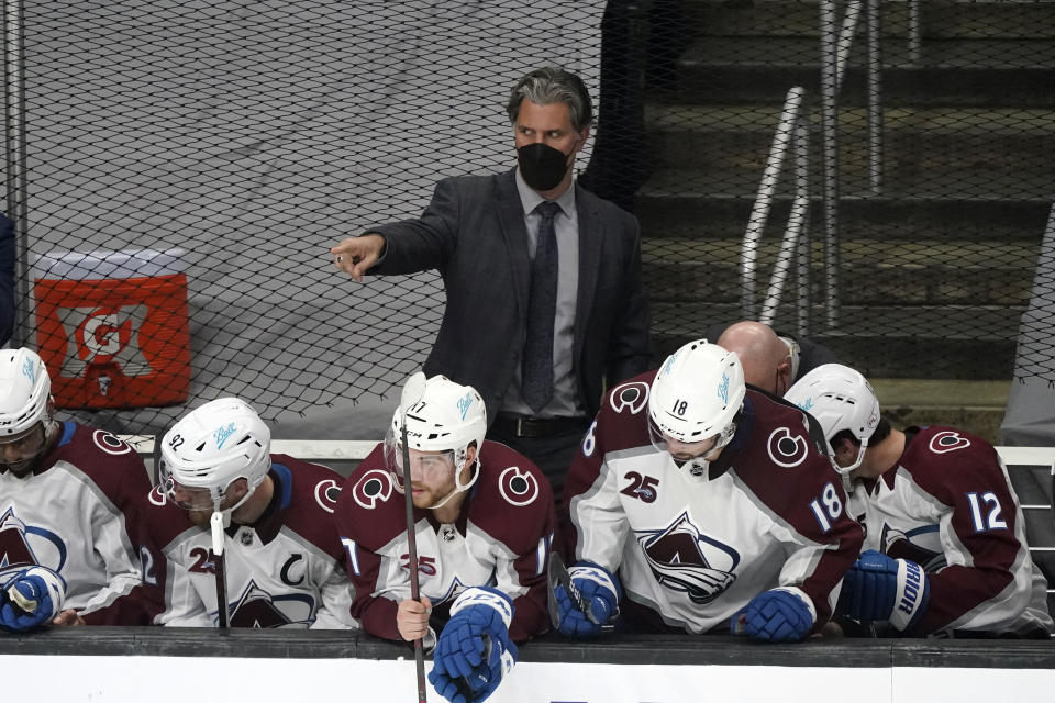 Colorado Avalanche head coach Jared Bednar directs his team during the first period of an NHL hockey game against the Los Angeles Kings Saturday, May 8, 2021, in Los Angeles. (AP Photo/Marcio Jose Sanchez)