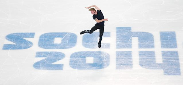 SOCHI, RUSSIA - FEBRUARY 05: Figure skater Evgeny Plyushchenko of Russia practices ahead of the Sochi 2014 Winter Olympics at the Iceberg Skating Palace on February 5, 2014 in Sochi, Russia. (Photo by Matthew Stockman/Getty Images)