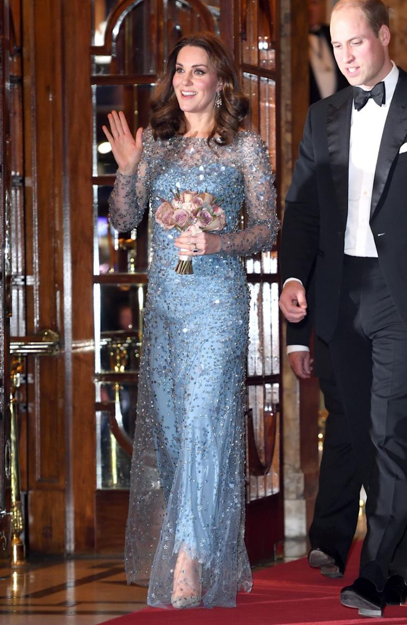Pregnant with her third, Kate frocked up with Wills for the Royal Variety Performance last week. Photo: Getty