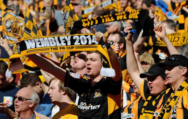 Hull City fans show support for their team before the English FA Cup semifinal soccer match between Hull City and Sheffield United at Wembley Stadium, London, England, Sunday, April 13, 2014. (AP Photo/Rui Vieira)