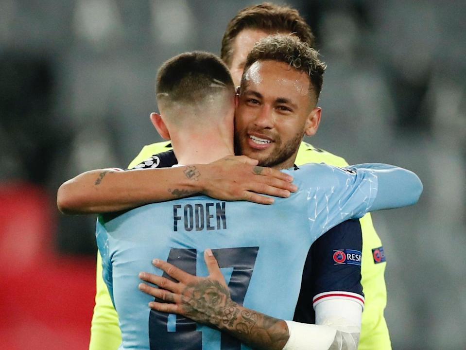 PSG forward Neymar and Man City midfielder Phil Foden (REUTERS)
