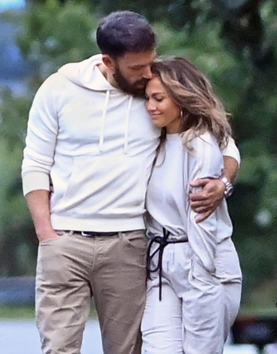 """<p>Affleck and Lopez <a href=""""https://people.com/movies/jennifer-lopez-ben-affleck-remembering-relationship-timeline/"""" rel=""""nofollow noopener"""" target=""""_blank"""" data-ylk=""""slk:originally began dating in July 2002,"""" class=""""link rapid-noclick-resp"""">originally began dating in July 2002,</a> after sparks flew on the set of their movie <i>Gigli</i>. A few months later, he popped the question that November. The pair later postponed their September 2003 wedding just days before it was set to take place, and ultimately called off their engagement in January 2004.</p>"""