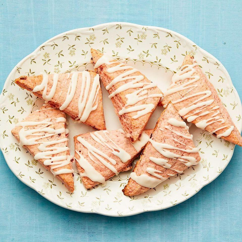 """<p>These delicious scones could be breakfast, lunch, dinner, <em>or</em> dessert. They're just that good. </p><p><em>Get the recipe from <a href=""""https://www.thepioneerwoman.com/food-cooking/recipes/a36006105/strawberries-and-cream-scones-recipe/"""" rel=""""nofollow noopener"""" target=""""_blank"""" data-ylk=""""slk:The Pioneer Woman"""" class=""""link rapid-noclick-resp"""">The Pioneer Woman</a>.</em></p>"""