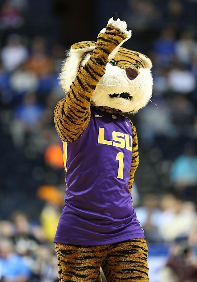The LSU Tigers mascot performs during the game against the Georgia Bulldogs in the second round of the SEC Basketball Tournament at Bridgestone Arena on March 14, 2013 in Nashville, Tennessee. (Photo by Andy Lyons/Getty Images)