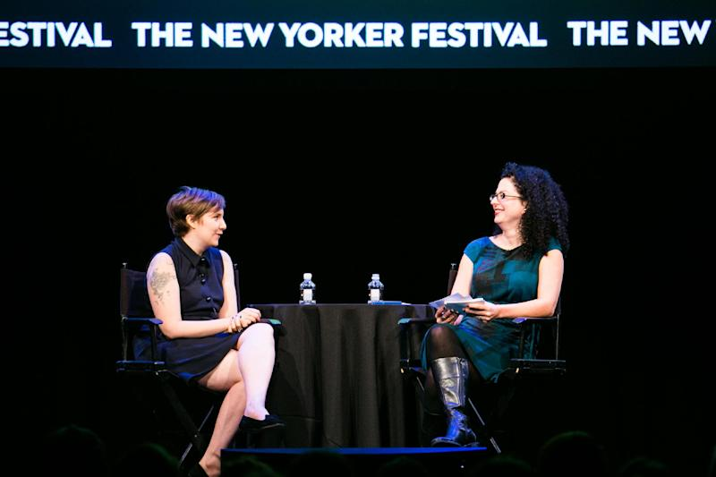 "This Oct. 7, 2012 photo released by The New Yorker Festival shows Lena Dunham, creator and star of the HBO series ""Girls,"" left, with TV critic Emily Nussbaum during The New Yorker Festival in New York. (AP Photo/The New Yorker Festival, Todd France)"