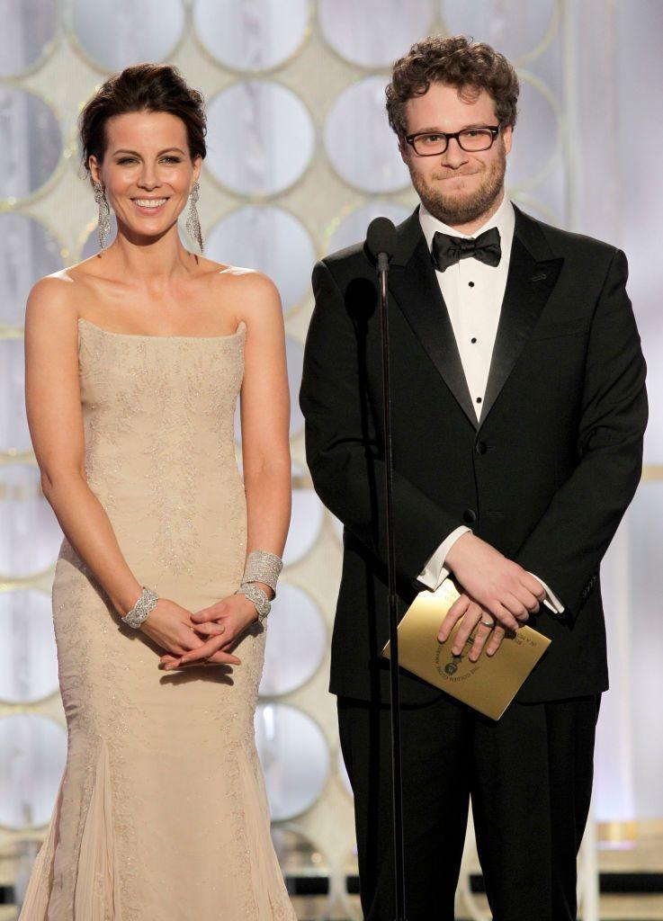"""<p>Before opening the envelope in 2012, Seth announced to the word that he was """"trying to conceal a massive erection."""" What's even more cringe-y is that Seth had brought his wife, Lauren Miller, along for the evening. We wouldn't blame her if she made Seth sleep on the couch that night ... </p>"""