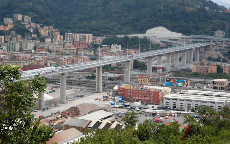 The newly-completed bridge in Genoa - AP