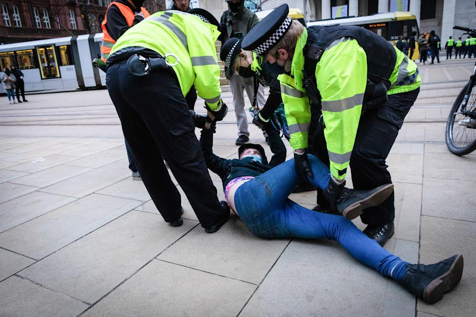 A protester is being detained by police during the demonstration. People come out to the streets to protest against the new policing bill in a 'Kill The Bill demonstration'. The new legislation will give the police more powers to control protests. (Photo by Andy Barton / SOPA Images/Sipa USA)