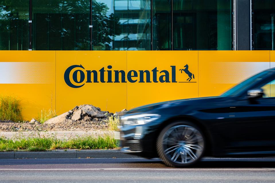 A Continental AG logo on a construction fence at the site for its new HQ in Hanover, Lower Saxony, Germany. Photo: Moritz Frankenberg/Picture Alliance via Getty Images