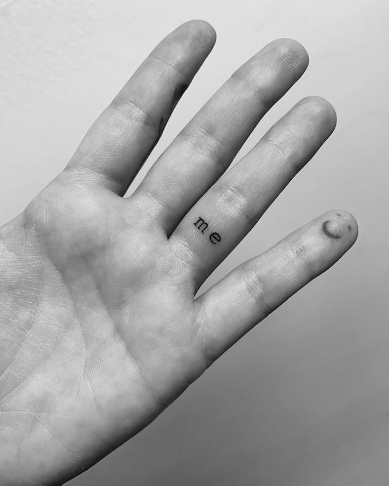 """Demi Lovato revealed her newest ink on <a href=""""https://www.instagram.com/p/BzPKKnCBAaU/"""">Instagram</a>, and it's all about self love: a tiny """"me"""" on her finger. """"Me first thank you @winterstone for my new forever reminder,"""" she wrote in the caption."""