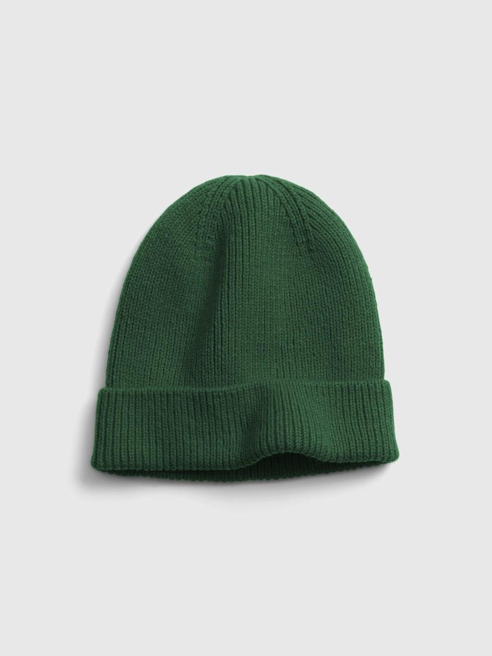 <p>This <span>Gap Rib Beanie</span> ($8, originally $20) comes in so many colors, but we love this dark green.</p>