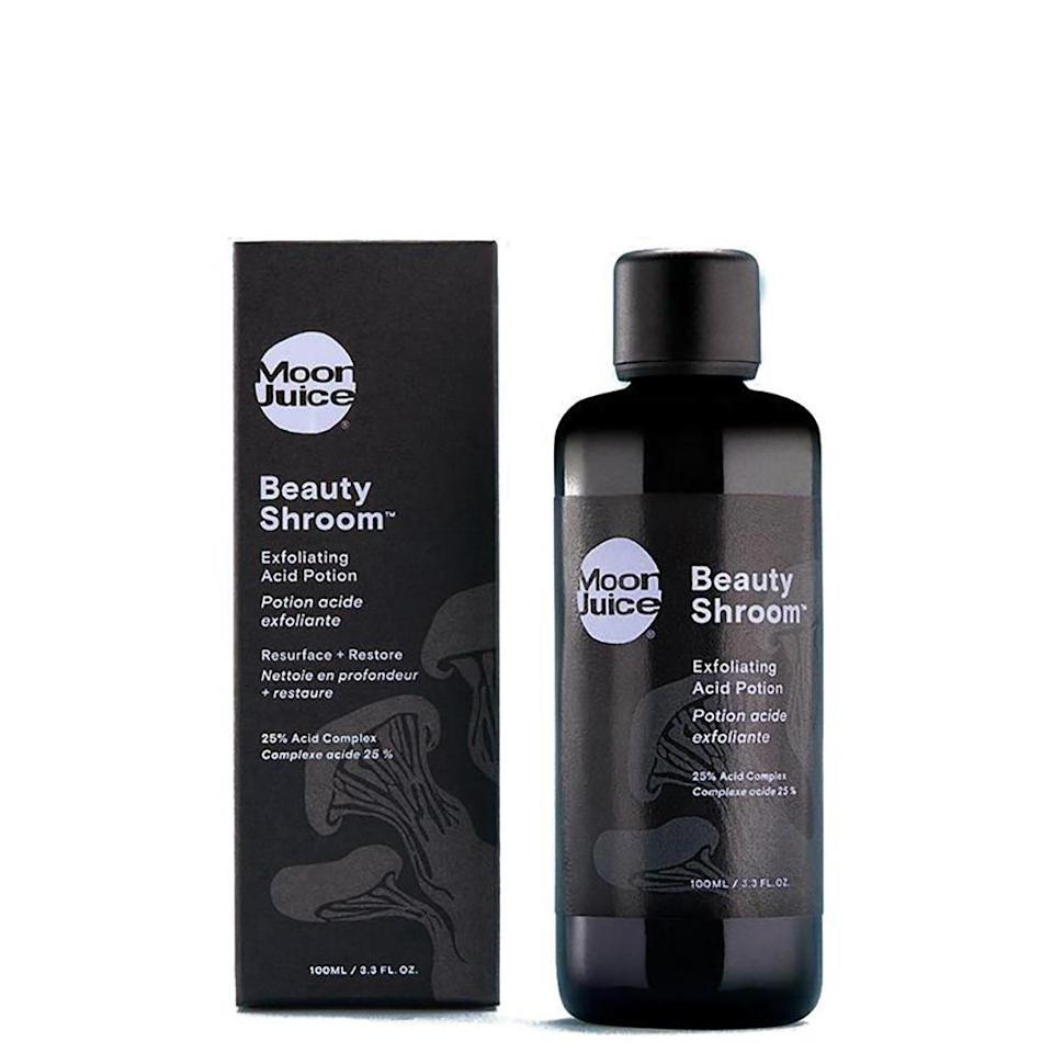 """<p><a href=""""https://www.refinery29.com/en-us/chemical-exfoliation"""" rel=""""nofollow noopener"""" target=""""_blank"""" data-ylk=""""slk:This $39 exfoliant"""" class=""""link rapid-noclick-resp"""">This $39 exfoliant</a> was created to be a cleaner, more natural alternative to <a href=""""https://www.refinery29.com/en-us/biologique-recherche-p50-review"""" rel=""""nofollow noopener"""" target=""""_blank"""" data-ylk=""""slk:Biologique Recherche's P50 lotion"""" class=""""link rapid-noclick-resp"""">Biologique Recherche's P50 lotion</a> ($101 for a full-size bottle), and has already generated a similar cult following.</p><br><br><strong>Moon Juice</strong> Beauty Shroom™ Exfoliating Acid Potion, $39, available at <a href=""""https://www.sephora.com/product/beauty-shroom-exfoliating-acid-potion-P435800#locklink"""" rel=""""nofollow noopener"""" target=""""_blank"""" data-ylk=""""slk:Sephora"""" class=""""link rapid-noclick-resp"""">Sephora</a>"""