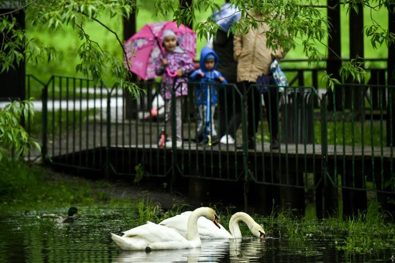 Moscow parks have been given the go-ahead to reopen after the virus lockdown. This park reopened early (AFP Photo/Kirill KUDRYAVTSEV)
