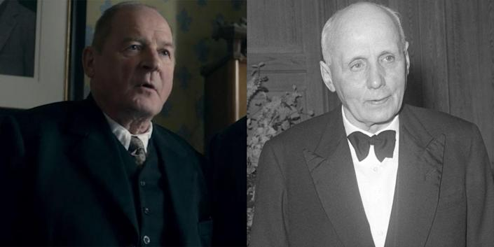 <p>German film legend Burghart Klaussner played Kurt Hahn, a progressive educator who founded Gordonstoun in 1934 after fleeing from Nazi Germany. Over the years, the Gordonstoun School educated a number of royals, including Prince Philip, Prince Charles, Prince Andrew, Prince Edward, and Charles's niece Zara Phillips. (The school finally opened its doors to women in 1972.) Gordonstoun has quite a few nonroyal alumni, too, including Charlie Chaplin's granddaughter Oona Chaplin (aka Talisa in <em>Game of Thrones</em>), Sean Connery's son, Jason Connery, and David Bowie's son, Duncan Jones.</p>
