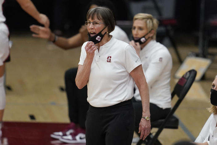 Stanford head coach Tara VanDerveer reacts during the first half of her team's NCAA college basketball game against Arizona in Stanford, Calif., Monday, Feb. 22, 2021. (AP Photo/Jeff Chiu)