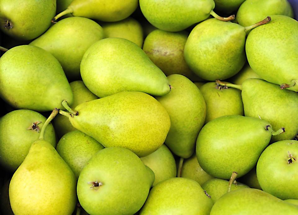 """<p>Besides vitamin C and fiber (25% of your daily value!), a single juicy pear will also help keep you hydrated. One quick dinner idea: This<a href=""""https://www.goodhousekeeping.com/food-recipes/easy/a46934/thai-steak-and-pear-salad-recipe/"""" rel=""""nofollow noopener"""" target=""""_blank"""" data-ylk=""""slk:Thai steak and pear salad recipe"""" class=""""link rapid-noclick-resp""""> Thai steak and pear salad recipe</a> from the Good Housekeeping Test Kitchen takes only 20 minutes to make. And like plums, pears are wonderful grilled as a side dish to whatever protein main dish you're BBQing. </p>"""