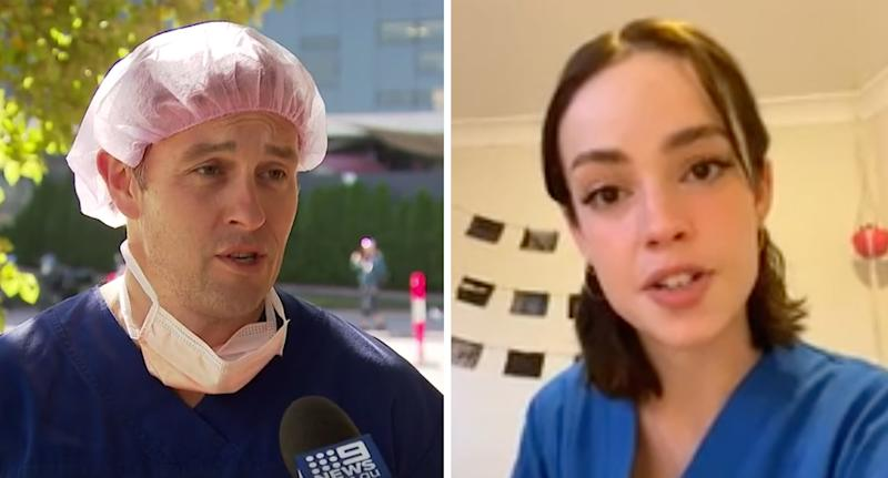 A nurse (left) tells Nine News that things are getting bad for medical staff. A NSW nurse (right) recounts a moment when a patient spat in her face. Source: Nine News/TikTok