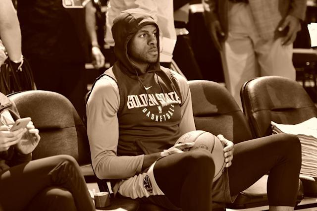An awful lot could depend on the health of Andre Iguodala's left leg. (Getty)