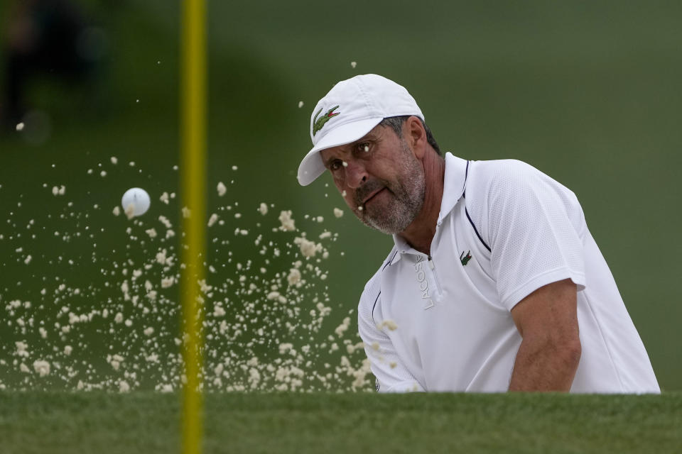 Jose Maria Olazabal, of Spain, hits out of a bunker on the seventh hole during the second round of the Masters golf tournament on Friday, April 9, 2021, in Augusta, Ga. (AP Photo/Gregory Bull)