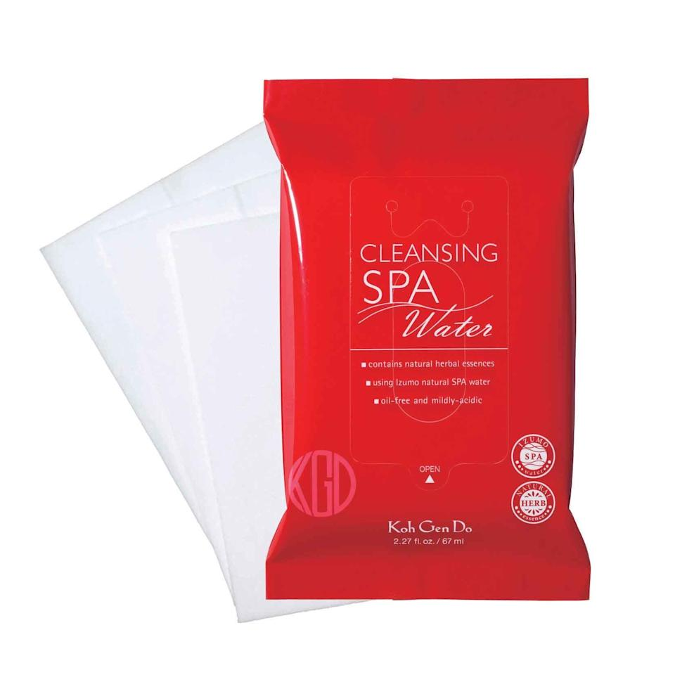 "<p>""Real talk: I'm obsessed with these wipes. No matter where I'm going, I always have an extra pack in my bag. I especially like to swipe away sweat with one of these following a brutal Barry's Bootcamp class. They're soothing, soft, and safe for my supersensitive skin."" <em>—Sarah Kinonen, digital associate beauty editor</em></p><p>$39 for three packs of 10 wipes (<a rel=""nofollow"" href=""http://www.sephora.com/cleansing-spa-water-cloths-P294018?mbid=synd_yahoolife"">sephora.com</a>)</p>"