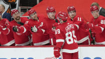 Detroit Red Wings center Sam Gagner (89) celebrates his goal against the Nashville Predators in the second period of an NHL hockey game Thursday, Feb. 25, 2021, in Detroit. (AP Photo/Paul Sancya)