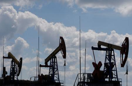 Pump jacks are seen at the Ashalchinskoye oil field owned by Russia's oil producer Tatneft near Almetyevsk
