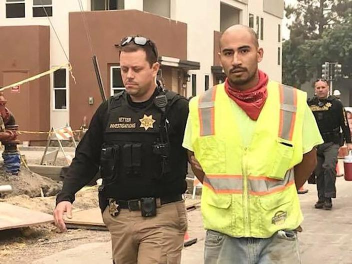 Victor Serriteno, right, is suspected of starting the Markley Fire last August that merged with the Hennessey Fire. Both fires were later included in the overall LNU Lightning Complex. (Vacaville Police Department)