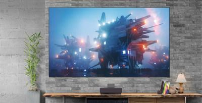 Pairing an ultra short-throw projector with a custom built, high-resolution ambient light rejecting screen designed specifically for the LS500, this combined solution delivers immersive 4K HDR content up to 120 inches.